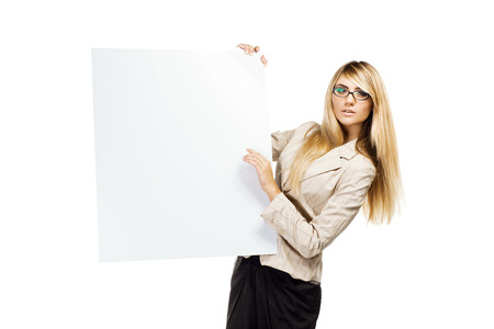 Pretty smiling woman holding a empty paper blank  Business woman Stock Photo