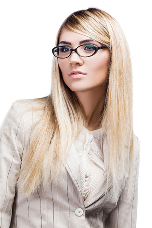 Pretty smiling woman in glasses over white  Business woman