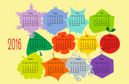 Colorful calendar 2016 year design with  pictures for every month, English, Sunday start, landscape orientation Ilustrace