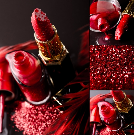 Cosmetic background with red lipstick and nail polish on black background photo