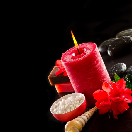 Red spa on black background Stock Photo - 17580589