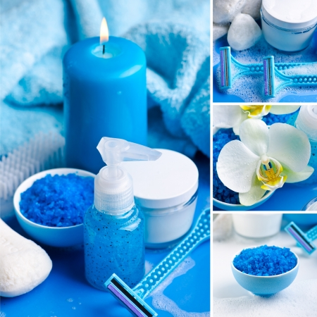 Blue spa collage photo