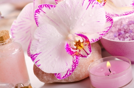 Pink spa with orchid  photo