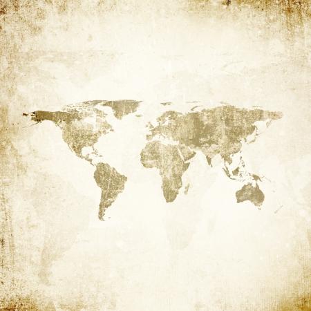 Grunge background with world map