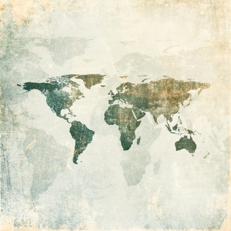 Grunge background with world map
