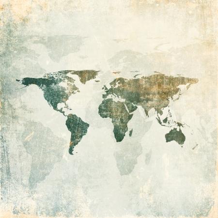 wall maps: Grunge fondo con el mapa del mundo Foto de archivo