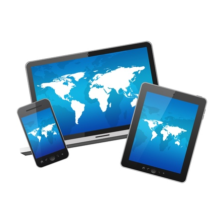 Tablet pc,mobile phone and notebook Stock Photo