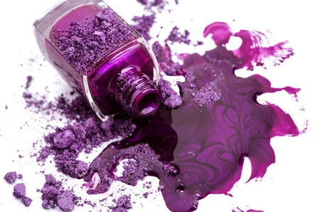 Purple nail polish with crushed eye shadow