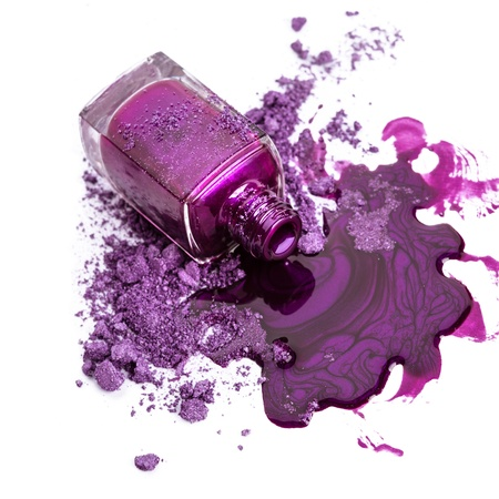 Purple nail polish with crushed eye shadow photo