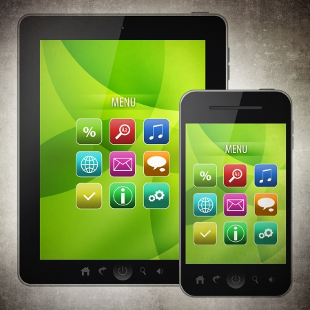 Tablet pc and mobile phone  photo