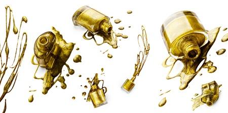 Set of golden nail polish