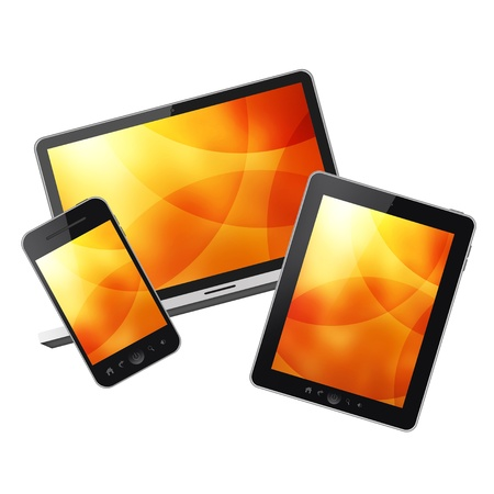 touchpad: Tablet pc,mobile phone and notebook Stock Photo