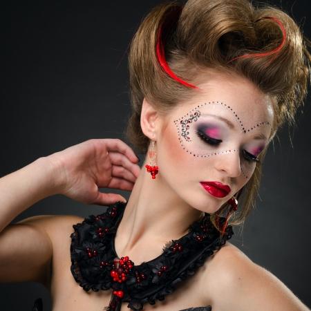 painted face mask: Beauty portrait  Stock Photo