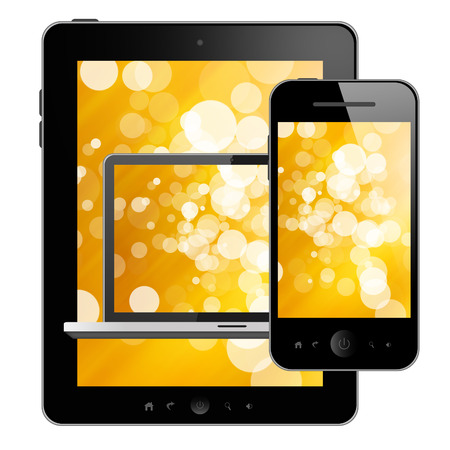 Tablet pc,mobile phone and laptop photo