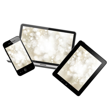 Tablet pc,laptop and mobile phone Stock Photo