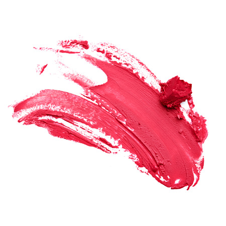 red lipstick: Smudged red lipstick  Stock Photo