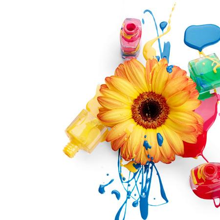 Nagellak met bloem Stockfoto