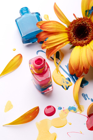 Nail polish with flower  photo