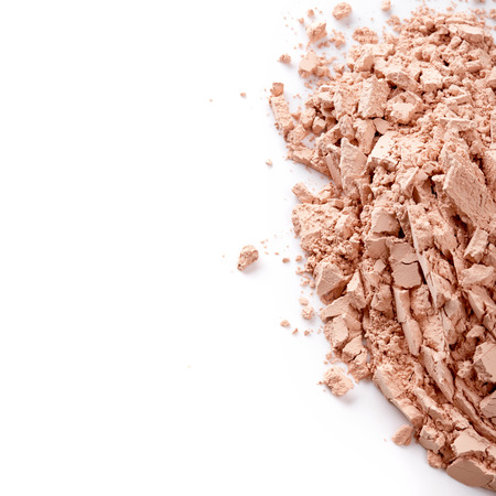 foundation cracks: Face powder isolated on white background Stock Photo