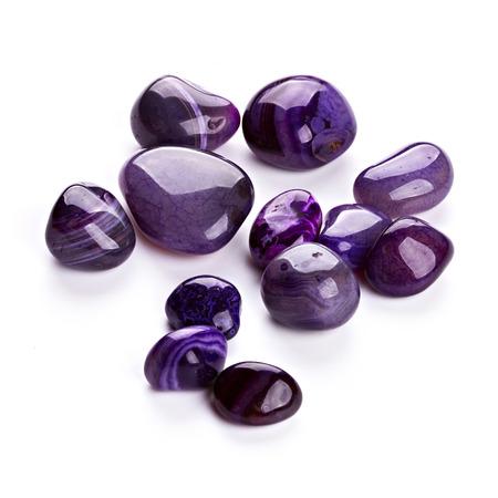 Semiprecious stones isolated on white background photo