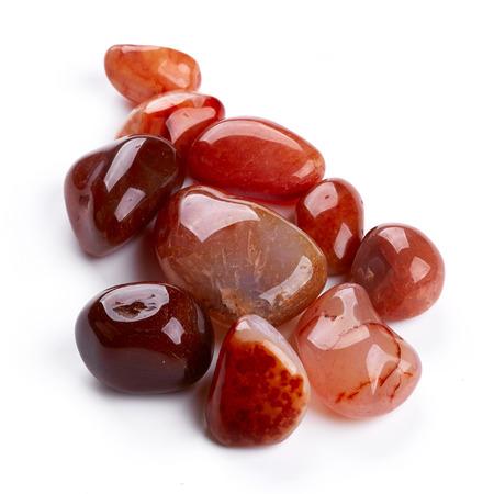 carnelian: Semiprecious stones isolated on white background Stock Photo