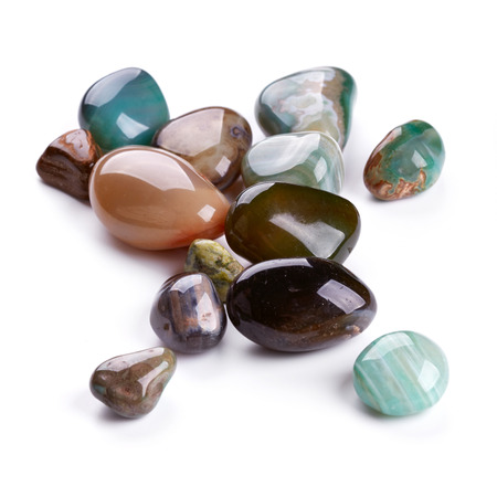 Semiprecious stones isolated on white background Stock Photo