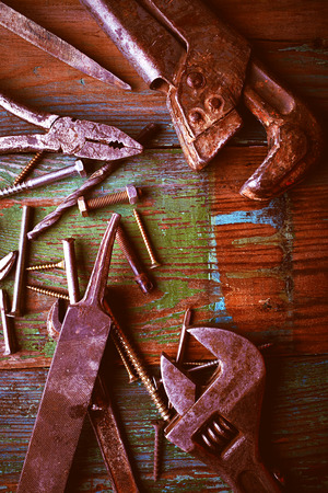 Building tools over wooden background photo