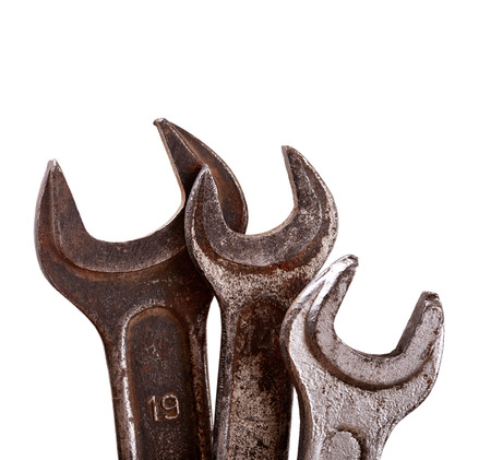 Old hand tools isolated on white background photo