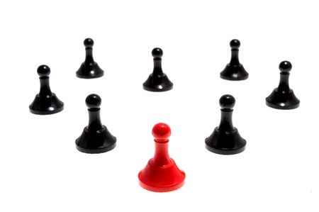 broken strategy: Chess pieces isolated on white background