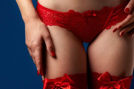 Womans body in red lace underwear on blue background