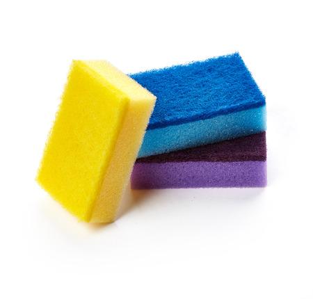 Kitchen sponges for washing dishes isolated on white background