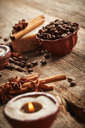 spa still life: Vintage spa still life with coffee beans on wooden background