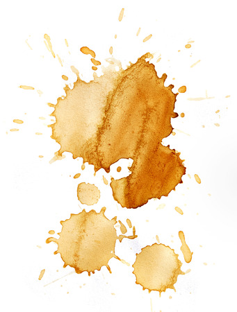 coffee stain: Blots of coffee isolated on white background