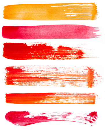 Strokes of paint isolated on white background