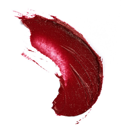 smudge: Smudged lipstick isolated on white background Stock Photo