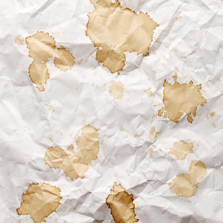 blots: Crumpled paper with blots of tea Stock Photo