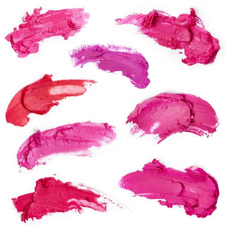 Verschmierte Lippenstifte isoliert auf weißem Hintergrund Standard-Bild - 37037891