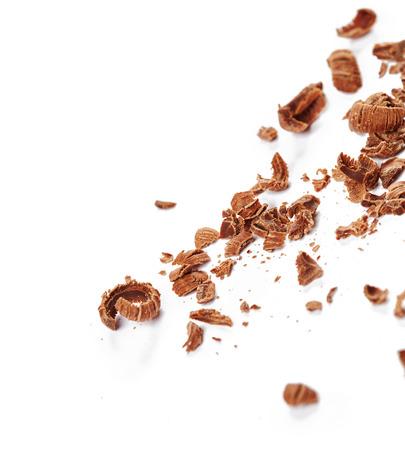 chocolate shavings: Chocolate shavings isolated on white background Stock Photo