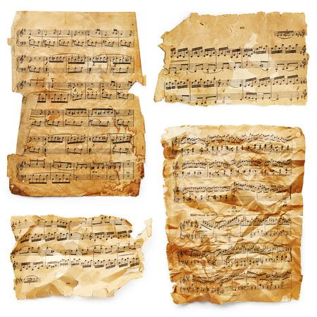 Music sheets isolated on white background Stock Photo