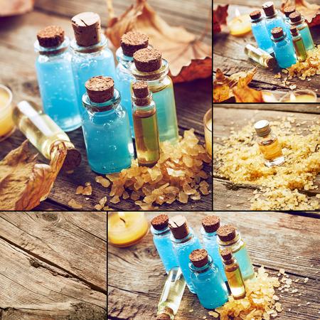 collage spa: Collage spa con hojas de oto�o Foto de archivo