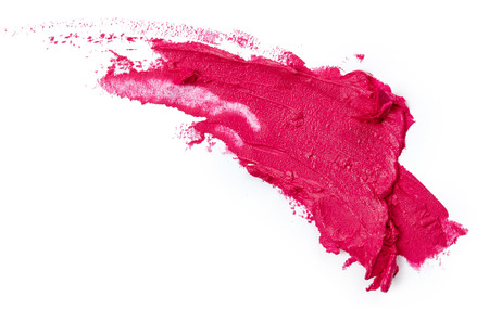 lapiz labial: Corrida l�piz labial de color rosa aisladas sobre fondo blanco