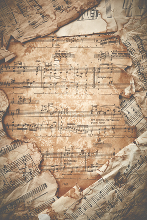octaves: Vintage music sheets background Stock Photo