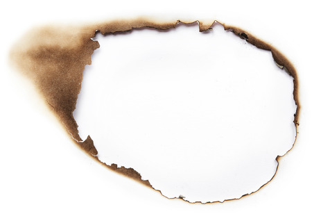 Burnt hole of white paper