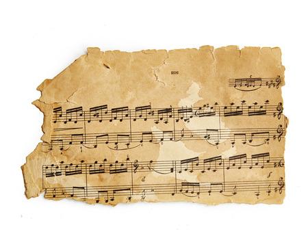 octaves: Vintage music sheet isolated on white background