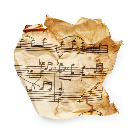 torn paper background: Music sheet isolated on white background Stock Photo