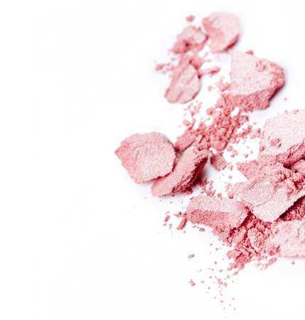 Crushed pink eye shadow isolated on white background Standard-Bild