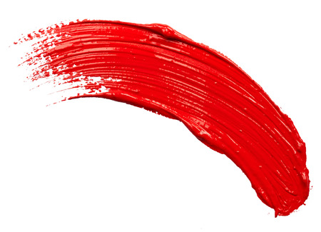 Strokes of red paint isolated on white