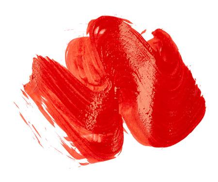 peinture rouge: Coups de peinture rouge isol� sur blanc Banque d'images