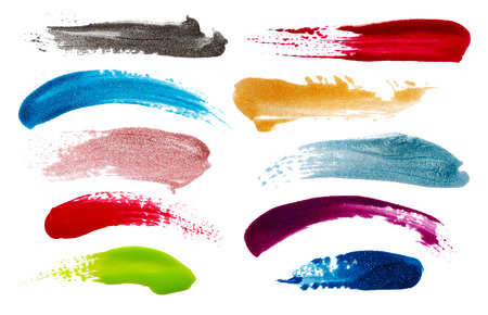 Blots of nail polish isolated on white background 스톡 콘텐츠