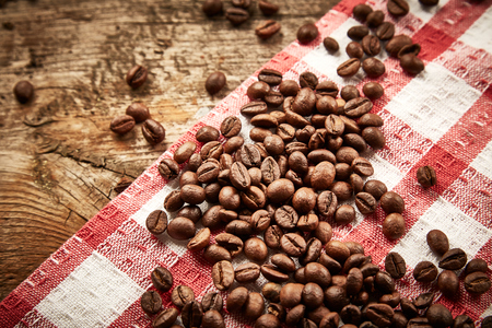 serviette: Coffee beans on serviette Stock Photo